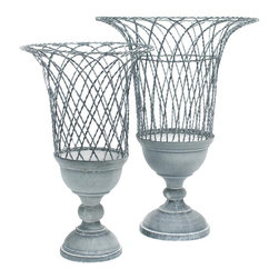 Aidan Gray French Wire Twist Pedestal Basket - Aidan-gray-g68-set | Candelabra, - Traditionally used in French gardens, this hand bent wire baskets can be used multiple ways. Fruit, plants or candles would look amazing and could change up the look seasonally.