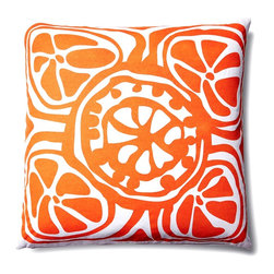 5 Surry Lane - Indoor Outdoor Modern Floral Decorative throw Pillow, Orange, 20x20, Contemporar - Modern floral indoor outdoor pillow.  Add a bright pop of color to your deck or patio.  100% soft polyester.  Water resistant.  Mold and mildew resistant.  Withstands UV rays.  Down insert included.  Hidden zipper closure.