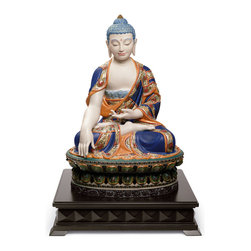 "Lladro Porcelain - Lladro Shakyamuni Buddha Orange Figurine - Plus One Year Accidental Breakage Rep - "" Sculpture of a large size seated Buddha. The mudra called Gesture of Witness performed with his right hand, pointing to the earth, is key to understanding the piece. It is made in white porcelain, with bright colours of intense blue and orange, as a real monk from Asia. Inspired by the ancient images of the asian temples. Hand Made In Valencia Spain - Sculpted By: Jose Javier Malavia - Limited To: 1000 Pieces Worldwide - Included with this sculpture is replacement insurance against accidental breakage. The replacement insurance is valid for one year from the date of purchase and covers 100% of the cost to replace this sculpture (shipping not included). However once the sculpture retires or is no longer being made, the breakage coverage ends as the piece can no longer be replaced. """