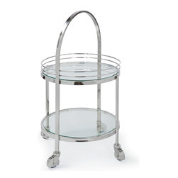 Kathy Kuo Home - Koko Modern Hollywood Regency Silver Glass Rolling Serving Bar Cart - Roll out your modern mixology on this double-decker glass and polished silver serving cart. Two round tiers offer space for all your favorite refreshments. A slim, silver handle and four casters provide mobility.