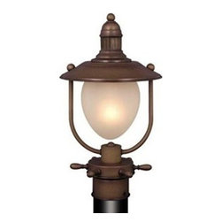 Vaxcel Lighting - Vaxcel Lighting Nautical Traditional Post Lantern Light X-CR59552PO - The nautical style of this Vaxcel Lighting outdoor post lantern light give it a more versatile look that will easily compliment your home's exterior whether it's a traditional colonial, mid century ranch or Craftsman style bungalow. From the Nautical Collection, the Antique Red Copper finish highlights the maritime details while a frosted glass shade softens and adds to the appeal. For Indoor / Outdoor use.