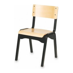 Holsag - Carlo Stacking Wood Chair in Natural and Blac - Elaborate 9-Step finishing process - Hand Stained Wood Finish, slight variations in color may occur. Value priced, durable. Attractively designed wood stackable Chairs. 18 W x 18 D x 32 H in. x 18 in. Seat Height