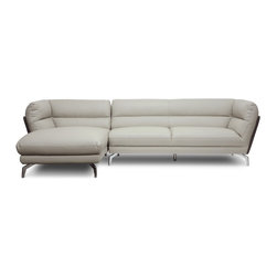 Baxton Studio - Baxton Studio Quall Gray Modern Sectional Sofa - Sleek city style shines in this two-piece contemporary sofa. The Quall Sectional revolutionizes your home's interior with clean, simple lines built from the ground up with a wooden frame, foam cushioning, and light gray faux leather. Contrasting dark gray faux leather flanks the sectional on both the right and left sides. Shiny chrome-plated steel legs add even more urban oomph to the design and are tipped with non-marking feet for protection against scuffs and scratches on sensitive surfaces. The sofa and chaise portions of this piece connect to one another with a metal bracket positioned between the sections. Made by Chinese craftsmen and imported, the Quall Contemporary Sectional requires minor assembly. Maintain the out-of-the-box new sectional look by wiping the faux leather clean with a damp cloth before immediately wiping dry.