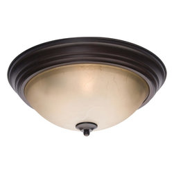 Joshua Marshal - Three Light Oil Rubbed Bronze Latte Glass Bowl Flush Mount - Three Light Oil Rubbed Bronze Latte Glass Bowl Flush Mount