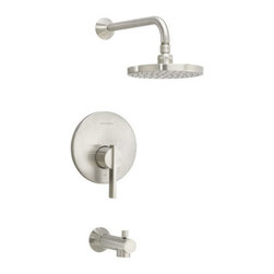 American Standard - American Standard T430.502.295 Satin Nickel Berwick Berwick Tub and - Product Features:Fully covered under American Standard s limited lifetime faucet warrantyComponents forged from the highest quality brass alloySuperior finishing process - finishes are covered under limited lifetime warrantyTub and Shower Package Includes: tub spout, valve trim, shower head, shower arm and flangeThe Berwick Collection ties fluid elegance with defined precisionWith a ribbon-like style, Berwick remains steadily classic, yet is reminiscent of sleek, streaming designLuxurious rain shower headSingle function cartridge - one handle controls both volume and temperaturePressure balancing valve cartridge included – plugs into valve bodyUltra-secure mounting assemblyADA compliantIntegral unions - no soldering requiredIncludes plaster guard for leak-testing prior to handle installationRough-in valve sold separately - when adding to cart, this item will be presentedProduct Technologies:Lifetime warranty: As an American company, American Standard showers are built tough. Their products live longer in one place than most people do. Drip-free ceramic disc valves, high-grade lead-free brass alloys, and turbine shower heads cables name just a few of the features which make American Standard showers the industry's longest lasting. To back this up, all American Standard showers are covered under a lifetime warranty.Indestructible Finishes: Through employing only the best finishing practices, such as physical vapor deposition, American Standard shower finishes are some of the strongest in the industry. When the finish is actually incorporated into the brass, rather than a coating on the outside, the result is a flawless appearance that eliminates tarnishing, pitting, and peeling while hiding scratches. For this reason, American Standard sh