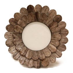 Scalloped Mica Frame - Rippling horn petals are built into triple layers which give the eponymous outline to the Scalloped Mica Frame.  Round photos and sketches enclosed within the frame's opening benefit from the natural mystery and organic glamor of the horn's wavy patterns, which gives a Byzantine halo in a texture that's updated and new.  Pair this elegant transitional frame with the matching mirror for an eye-catching vignette like crafted flowers on your wall.