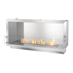 "Ignis Ethanol Fireplace Inserts / Fireboxes FB3600-S - A single-sided Ethanol Firebox created by Ignis Development, the FB3600-S Ethanol Firebox was fashioned to allow Eco-friendly fire into countless commercial and domestic settings. A one-sided fireplace that lends a streamlined aesthetic to any space, the FB3600-S offers a linear flame of over 31"" in length using the industry-leading EB3600 Ethanol Fireplace Insert. Fabricated of grade 304 polished stainless steel, known for its high temperature resistance, this ethanol fireplace offers double wall construction, each wall with a width of 3mm. Furthering its level of protection, the fireplace is insulated with a patented rock wool insulation, making this firebox heat resistant and one of the safest fireplaces available today. When creating this strong, zero clearance ethanol fireplace, special attention was given to its installation process and making it easy for consumer use. Using the surrounding flange, simply build the firebox into the wall, existing fireplace enclosure or custom frame. Because this fireplace insert burns Eco-sensitive fuel, you don't need to install a chimney or intricate ventilation system. The FB3600-S Ethanol Fire Box, via its stainless surround, provides an elegant backdrop for the dancing flames. The flames are reflected, enhanced and multiplied and create an awe-inspiring and active display. For safety and style, a pane of tempered glass adorns the front of the fireplace."