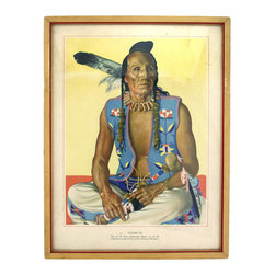 "Consigned ""Clears Up"" Great Northern RR Print - Classic offset lithograph from the Great Northern series of a figure titled ""Clears Up"" from the Pecunnie Blackfeet American Indian Tribe. Marked in the bottom left ""From original portrait by Winold Reiss, New York, Copyright Great Northern"" and ""Printed in U.S.A."" in the bottom right."