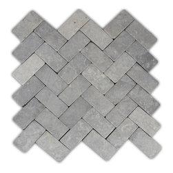CNK Tile - Light Grey Herringbone Stone Mosaic Tile - Usage: