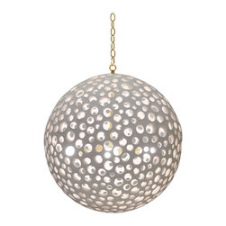 Annika Chandelier - %The Annika Chandelier by Oly presents an opulent pierced resin based chandelier. Offering a playful twist on the traditional globe lantern, the Annika Chandelier has a natural strong and soft appearance, perfect for setting a relaxing mood to any room. Reinventing the polka dot in the Annika Chandelier's fun spherical design. The pierced white resin fixture is versatile because of its clean white color, yet completely unique in beautiful design.