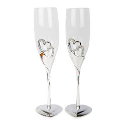 Unik Occasions - Stunning Wedding Toasting Flutes/Champagne Glasses - Looking for simple yet charming toasting glasses for your wedding reception? Take a look at this pair of romantic champagne glasses! With a heart-shaped bottom and silver, rhinestone-encrusted hearts on the glass, this elegant pair is a fabulous way to honor your toast as husband and wife.