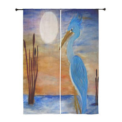 xmarc - Tropical Birds Sheer Curtains, Blue Heron - The windows have it with these sheer, decorative curtains. Romantic and flowing, these elegant chiffon window treatments finish a room with the perfect statement