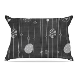 """Kess InHouse - KESS Original """"Chalk Eggs Black"""" Gray Eggs Pillow Case, Standard, 30""""x20"""" - This pillowcase, is just as bunny soft as the Kess InHouse duvet. It's made of microfiber velvety fleece. This machine washable fleece pillow case is the perfect accent to any duvet. Be your Bed's Curator."""
