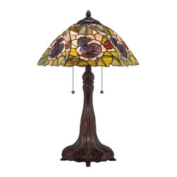 Quoizel - Quoizel Russet Lamps - SKU: TF1486T - Elegant Tiffany style is a timeless staple of home decor. The various designs are hand-assembled using the copper foil technique developed by Louis Comfort Tiffany. With an enormous variety of colors and patterns to choose from, Quoizel Tiffany`s have become more popular than ever.
