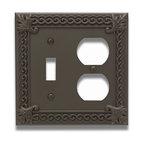 Atlas Homewares - Aged Bronze Venetian Combo Outlet Switchplate (ATHVNCOO) - Aged Bronze Venetian Combo Outlet