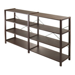 "Winsome Wood - Winsome Wood Sheldon 4-Tier Crossed Wired Shelf in Cappuccino - Sheldon 4-Tier Shelf is versatile with it's width at 56"". Use it to store books or even dub as TV stand for your flat screen. X metal cross on the back lends to design plus gives stability. Overall size is 56.10""W x 12.06""D x 34.41""H. Distance between each shelf is 9.84"". Veneer with composite wood in cappuccino finish. Assembly required. Shelf (1)"