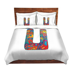 DiaNoche Designs - Duvet Cover Microfiber King from DiaNoche Designs by Dora Ficher - Letter U - DiaNoche Designs works with artists from around the world to bring unique, artistic products to decorate all aspects of your home.  Super lightweight and extremely soft Premium Microfiber Duvet Cover (only) in sizes Twin, Queen, King.  Shams NOT included.  This duvet is designed to wash upon arrival for maximum softness.   Each duvet starts by looming the fabric and cutting to the size ordered.  The Image is printed and your Duvet Cover is meticulously sewn together with ties in each corner and a hidden zip closure.  All in the USA!!  Poly microfiber top and underside.  Dye Sublimation printing permanently adheres the ink to the material for long life and durability.  Machine Washable cold with light detergent and dry on low.  Product may vary slightly from image.  Shams not included.