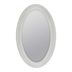 """Cooper Classics - Lyndale Glossy White Oval Mirror - The lovely lyndale mirror will make a welcome addition to any room.  This beveled wall mirror features a beautiful glossy white finish. Frame Dimensions: 28""""W X 44.5""""H; Mirror Dimensions: 20.5""""W X 37.25""""H; Finish: Glossy White; Material: Polyurethane; Beveled: Yes; Shape: Oval; Weight: 25 lbs; Included: Brackets, Ready to Hang"""
