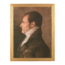 "J. Pocker - ""Regency Man"" Print - The earring worn by the man in this traditional profile portrait may transfix you. A piece hand selected by renowned Interior Designer, Bunny Williams, this reproduction speaks volumes. Add the ""Regency Man"" to your collection and imagine the 19th century life he led."