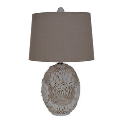 "Lamps Plus - Coastal Crestview Collection Calypso Shell Table Lamp - Add a touch of the seashore to your home with this mesmerizing white shell table lamp constructed of myriad natural shells on an ovoid base. The look is completed with a soft natural linen shade topped with a complementary shell finial. Revitalize your decor with this wonderful piece from Crestview Collection lighting. Elaborate shell table lamp. Natural shell finish. Natural white shell and resin construction. Natural linen shade. Complementary shell finial. Takes one 150 watt 3-way bulb (not included). Shade is 13"" across the top 15"" across the bottom and 10"" high. 24 1/2"" high.    Elaborate shell table lamp.  Natural shell finish.  Natural white shell and resin construction.  Natural linen shade.  Complementary shell finial.  Takes one 150 watt 3-way bulb (not included).  Shade is 13"" across the top 15"" across the bottom and 10"" high.  24 1/2"" high."