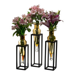 Danya B. - Set of 3 Amber Amphorae Vases on Square Tubing Metal Stands - Add an elegant detail to your home decor with this set of vases in square tubing metal stands. This decorative accessory is made of recycled glass and iron with glass being easily removable for cleaning. Add your favorite blooms, single buds or small bouquet to this striking vase set and set it together or apart for a breathtaking focus piece.