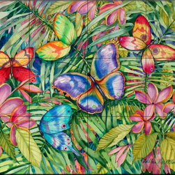 The Tile Mural Store (USA) - Tile Mural - Tropical Butterflies  - Kitchen Backsplash Ideas - This beautiful artwork by Kathleen Parr McKenna has been digitally reproduced for tiles and depicts colorful butterflies.  Butterfly images on tiles are wonderful to add to your kitchen backsplash wall tile project. Bright and beautiful decorative tiles with pictures of butterflies make a great addition to your kitchen backsplash wall tile project. Bring the outdoors in with a butterfly tile mural. You can use a tile mural of butterflies in the bathroom too for your shower tile project. Consider a butterfly tile mural for any wall tile project.