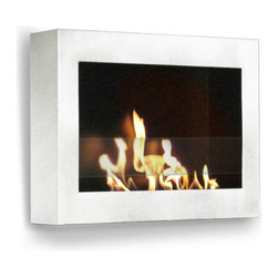 "Anywhere Fireplace - SoHo Wall Mount Ethanol Fireplace, White - Dimensions: 27.5""�W x 19""H x 5""D"