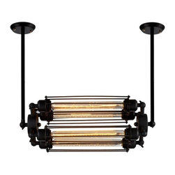 Ohr Lighting® - Ohr Lighting® Edison Caged Horizontal Pendant Light 4 Bulbs, Matte Black/Iron - Features