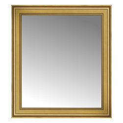 """Posters 2 Prints, LLC - 34"""" x 38"""" Arqadia Gold Traditional Custom Framed Mirror - 34"""" x 38"""" Custom Framed Mirror made by Posters 2 Prints. Standard glass with unrivaled selection of crafted mirror frames.  Protected with category II safety backing to keep glass fragments together should the mirror be accidentally broken.  Safe arrival guaranteed.  Made in the United States of America"""