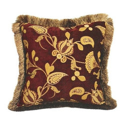 """Canaan - Pilates Chenille Damask Floral Pattern Print 20"""" x 20"""" Throw Pillow - Pilates chenille damask floral pattern print 20"""" x 20"""" throw pillow with brush fringe trim. Measures 20"""" x 20"""" made with a blown in foam. These are custom made in the U.S.A and take 4-6 weeks lead time for production."""