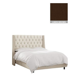 """Home Decorators Collection - Custom Dale Upholstered Bed - Our luxurious Custom Dale Upholstered Bed features a swoop arm wingback headboard with a double line of nail button trim on each wing. This generously tufted nailhead bed is upholstered by hand in your choice of gorgeous, top-quality fabric. Headboard includes diamond tufting and nailhead trim. Solid pine frame with metal legs. Includes upholstered bed panels. Fits standard high-profile 9"""" box spring. Includes hardware and instructions. Assembled to order in the USA and delivered in 4-6 weeks. Spot clean only."""