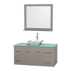 "Wyndham Collection - Centra 48"" Grey Oak Single Vanity, Green Glass Top, Pyra White Porcelain Sink - Simplicity and elegance combine in the perfect lines of the Centra vanity by the Wyndham Collection. If cutting-edge contemporary design is your style then the Centra vanity is for you - modern, chic and built to last a lifetime. Available with green glass, pure white man-made stone, ivory marble or white carrera marble counters, with stunning vessel or undermount sink(s) and matching mirror(s). Featuring soft close door hinges, drawer glides, and meticulously finished with brushed chrome hardware. The attention to detail on this beautiful vanity is second to none."