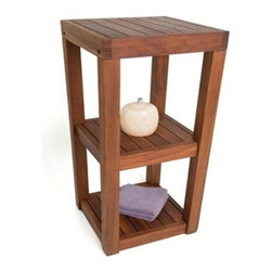 "Master Garden Products - Small Teak Square Shelves, 3 Tiers, 12""W x 12""D x 36""H - We offer a full line of  teak shelving with different designs and sizes to choose from. Teak wood is known for their durability, resistance to rotting and age to a beautiful shiny grey color tone.  Teak wood grain is uniquely smooth and dense; perfect for bathroom use."