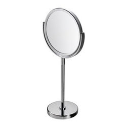 Geesa - Chrome Round 3x Magnifying Mirror - Contemporary style free standing round magnifying mirror with 3x magnification. Made of glass and brass with a chrome finish. Free standing round magnification mirror. 3x magnification. Made of glass and brass in a chrome finish. From the Geesa Mirror Collection.