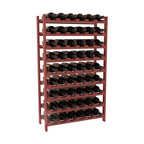 54 Bottle Stackable Wine Rack in Pine with Cherry Stain + Satin Finish - Three times the capacity at a fraction of the price for the 18 Bottle Stackable. Wooden dowels enable easy expansion for the most novice of DIY hobbyists. Stack them as high as you like or use them on a counter. Just because we bundle them doesn't mean you have to as well!
