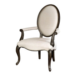 Anne Occasional Chair - Graceful curves and elegant cabriole legs carved from solid white mahogany make the Anne Chair such a wonderful choice when you need additional seating in a space. Beautiful treated linen upholstery and champagne nail head detail finish this exquisite chair off and make it ideal for your formal living room or seating area in the master suite.