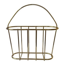 Used Vintage Brass Magazine Rack - A bit o' brass to keep your space clutter-free! This vintage brass magazine rack features simple, clean lines. There is no maker's mark visible.