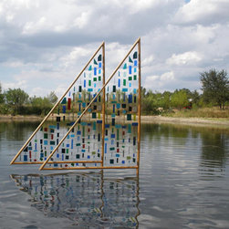 Language of the wind , sun and water - This is a poetic sculpture that in Kinetic naturally. It intertwines with the sun, wind and water casting it's shadow as the wind vibrates the colors on the water with reflecting sun rays. This is one of my favorite pieces.