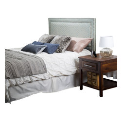 Great Deal Furniture - Crosby Queen to Full Blue Green Fabric Headboard - The Crosby headboard is a great piece to add elegance to your bedroom. You can spruce up the look of any queen or full sized bed with this headboard that will sure to enhance your existing furniture.