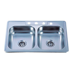 Kingston Brass - SS Mirror Gourmetier Self-Rimming Double Bowl Kitchen Sink Mirror GKTD33228MR - The self-rimming kitchen sink features a special mirror-reflected surface. The sink consists of two square-shaped basins and four drilled holes built in superior quality stainless steel for durability and a long-lasting experience.Manufacturer: Kingston BrassModel: GKTD33228MRUPC: 663370136092Product Name: Gourmetier GKTD33228MR Self-Rimming Double Bowl Kitchen Sink, MirrorCollection / Series: StudioFinish: SS MirrorTheme: N/AMaterial: Stainless Steel MirrorType: Kitchen SinksFeatures: 304 Grade Stainless Steel. resist from chips and scratches
