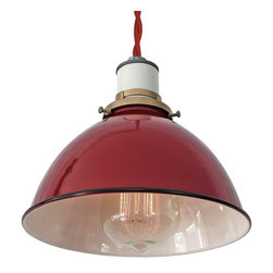 MPDESGINSHOP - The Sullivan Lamp, Red Twisted Cord - THE SULLIVAN LAMP is a vintage-inspired industrial hanging pendant shade lamp handmade in Philadelphia, PA. Each features a hand-spun red enamel-coated dome metal shade with white interior, black trim, and durable cotton cording in the color of your choice. Quickly and easily install this lamp anywhere you need some extra light with the included 2-inch screw hook.