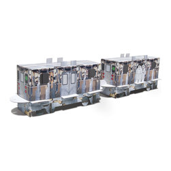 Metropolis Train Set - Train lovers, young and old, will adore this recycled cardboard train set. Use the pre-printed side or spark your own imagination and style up the blank canvas on the reverse with your own designs. The set makes a great gift for anyone with a creative side.