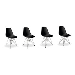 Lemoderno - Molded Plastic Side Chair Wire Leg Base Black Shell By Lemoderno, Black Shell, S - The classic plastic side chair with wire base remains popular today for cafeterias, home offices, and dining areas. A clean, simple form sculpted to fit the body. Shells are recyclable polypropylene. The shell is dyed throughout so colors remain vibrant even after years of hard use. For extended comfort, the shell is connected to the base by rubber shock mounts. This item is a high quality reproduction of the original.
