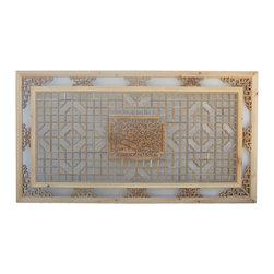 Golden Lotus - Chinese Rectangular Lotus Ducks Geometric Wood Wall Decor - Chinese Rectangular Lotus Ducks Geometric Wood Wall Decor