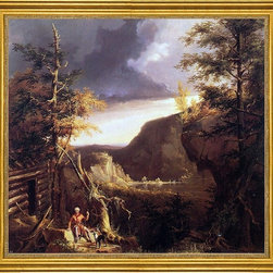 "Thomas Cole-16""x16"" Framed Canvas - 16"" x 16"" Thomas Cole Daniel Boone Sitting at the Door of His Cabin on the Great Osage Lake, Kentucky framed premium canvas print reproduced to meet museum quality standards. Our museum quality canvas prints are produced using high-precision print technology for a more accurate reproduction printed on high quality canvas with fade-resistant, archival inks. Our progressive business model allows us to offer works of art to you at the best wholesale pricing, significantly less than art gallery prices, affordable to all. This artwork is hand stretched onto wooden stretcher bars, then mounted into our 3"" wide gold finish frame with black panel by one of our expert framers. Our framed canvas print comes with hardware, ready to hang on your wall.  We present a comprehensive collection of exceptional canvas art reproductions by Thomas Cole."