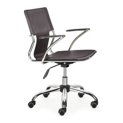 Zuo Modern - Zuo Trafico Office Chair in Espresso - Office Chair in Espresso belongs to Trafico Collection by Zuo Modern This fun and functional office chair combines a modern and transitional look. The Trafico office chair is made from solid steel chrome frame, leatherette sling seat and arm pads, with a chrome base with adjustable height. Office Chair (1)