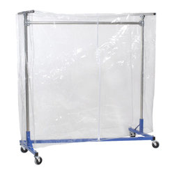 "Quality Fabricators - Cover - Clear Vinyl w/ Zipper - 60""H - 64""L - for 5ft Z-Rack Clear - This cover is designed to protect your hanging clothes and storage items from typical dust and dirt. The clear cover easily fits over the entire garment rack and zips up the front for easy access.  Add cover supports to help keep your stored items protected."