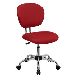 Flash Furniture - Flash Furniture Mid-Back Red Mesh Task Chair w/ Chrome Base - H-2376-F-RED-GG - This value priced mesh task chair will accommodate your essential needs for your home or office space. This chair will add a splash of color to your office for a non-traditional look. chair features a breathable mesh material with a comfortably padded seat. [H-2376-F-RED-GG]