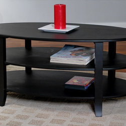 None - London 3-tier Coffee Table - London coffee table provides plenty of room for display or storage Living room furniture is constructed of medium density fiberboard and solid wood Coffee table is available in black color option