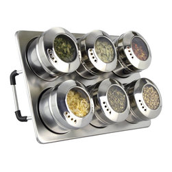 Cuisinox - 6 Pc Spice Set with Magnetic Base - More than a convenient storage solution, this rack puts the natural beauty of spices and herbs on display in your kitchen. Includes a collapsible stand with two rows designed to hold the 6 stainless-steel magnetic canisters, tilted forward in a gallery-style arrangement. The clear acrylic lids are airtight to prolong the freshness of their contents. With a simple twist of the caps, you may use these as dispensers. Individual canisters are avalaible below.
